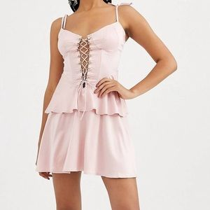 missguided satin strappy laceup front skater dress